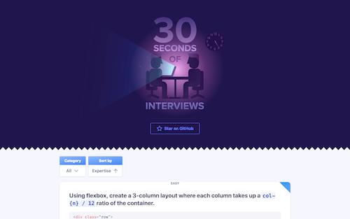 Screenshot for the 30 Seconds of Interviews website