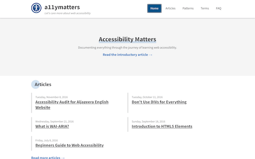 Screenshot for the Accessibility Matters website