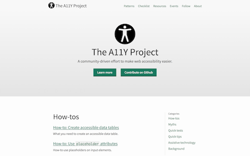 Screenshot for the The Accessibility Project website