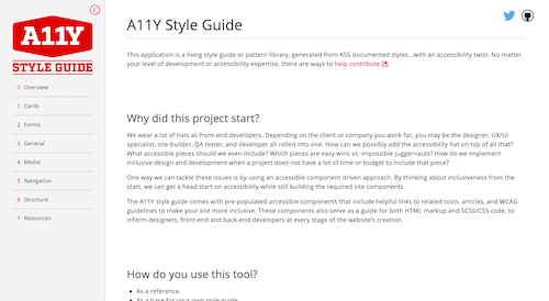 Screenshot for the A11y Style Guide website