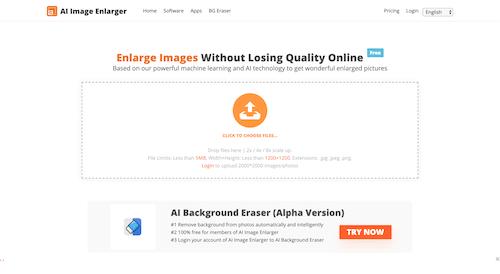Screenshot for the AI Image Enlarger website