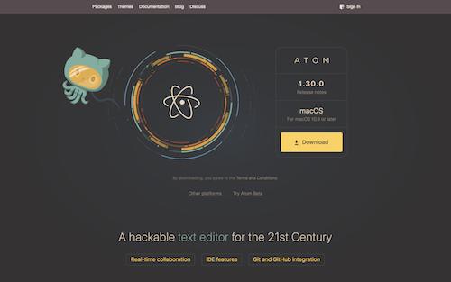 Screenshot for the Atom website