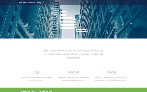 Screenshot for the BEM website