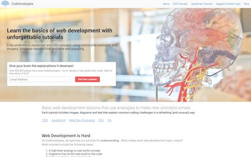 Screenshot for the Code Analogies website