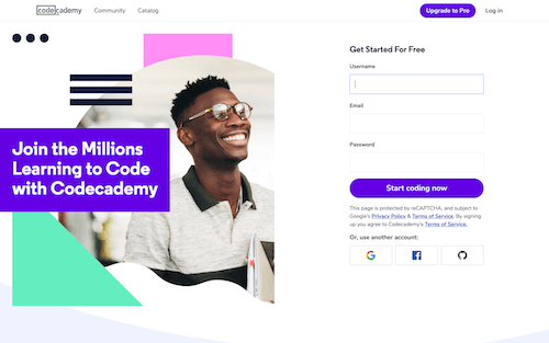 Screenshot for the Codecademy website