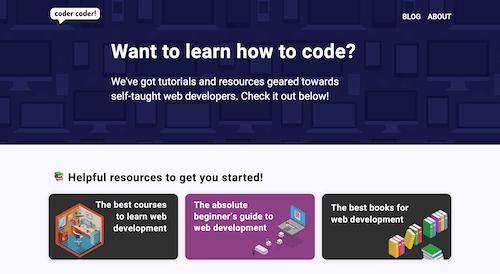 Screenshot for the Coder Coder website