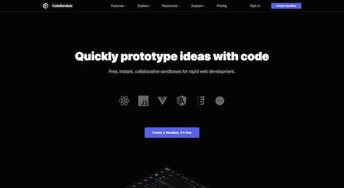 Screenshot for the CodeSandbox website