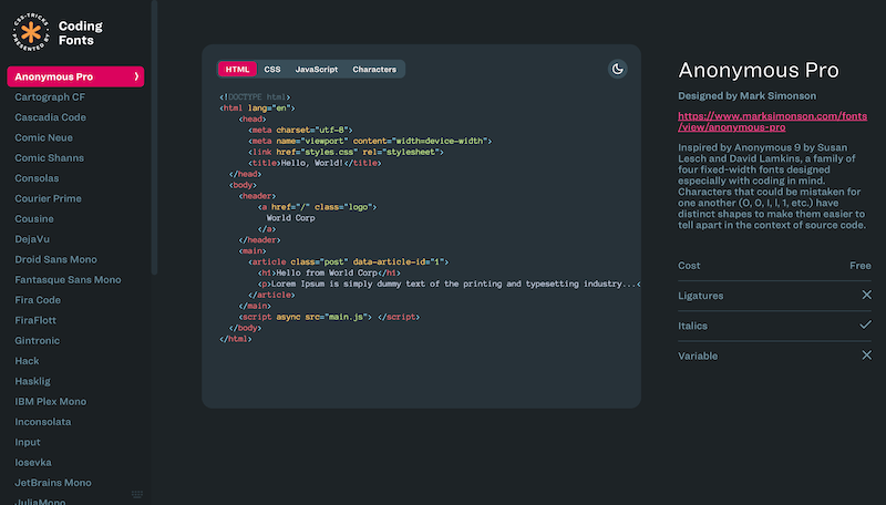 Screenshot for the Coding Fonts website