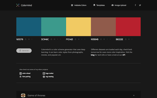 Screenshot for the Colormind website