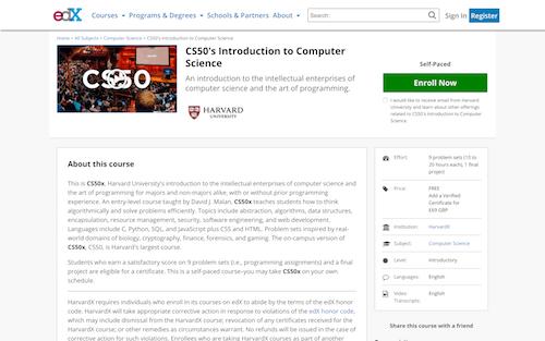Screenshot for the CS50 website