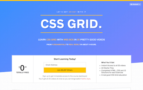 Screenshot for the Wes Bos: CSS Grid website
