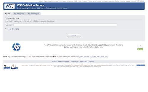 Screenshot for the W3C CSS Validator website
