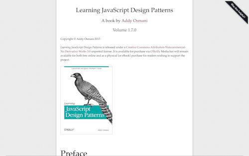 Screenshot for the JavaScript Design Patterns website