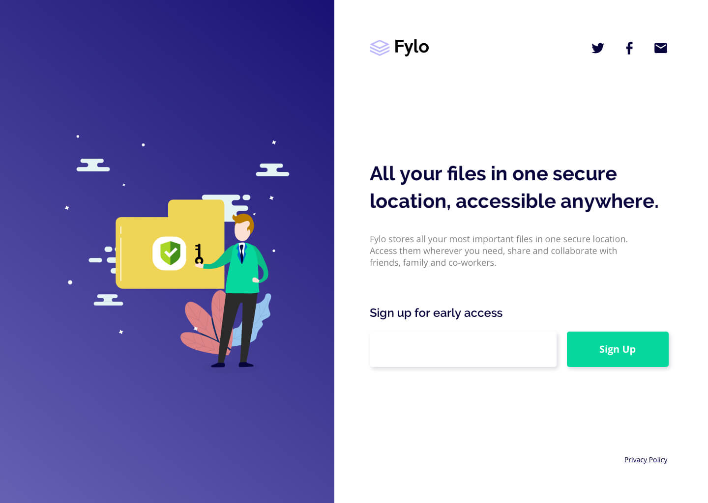 Design preview for Fylo beta sign up landing page coding challenge
