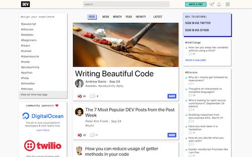 Screenshot for the Dev.to website
