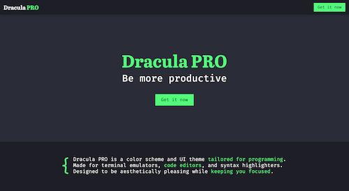 Screenshot for the Dracula PRO website