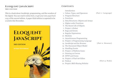 Screenshot for the Eloquent JavaScript website