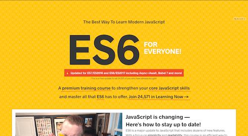 Screenshot for the ES6 for Everyone website