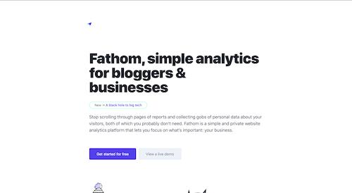Screenshot for the Fathom Analytics website