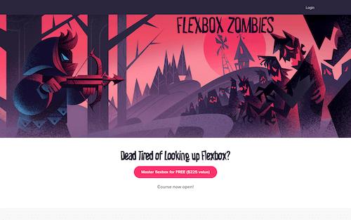 Screenshot for the Flexbox Zombies website