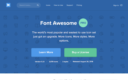 Screenshot for the Font Awesome website