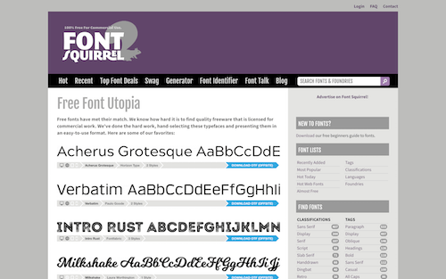 Screenshot for the Font Squirrel website