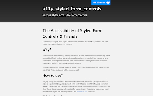 Screenshot for the Accessible Form Controls website