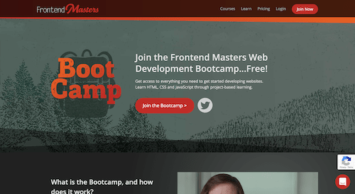Screenshot for the Frontend Masters Bootcamp website