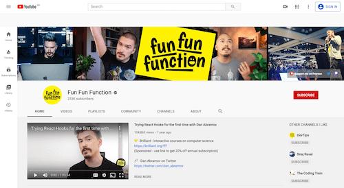 Screenshot for the Fun Fun Function website
