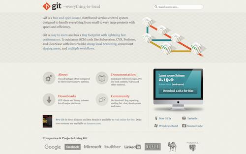 Screenshot for the Git website