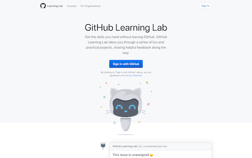 Screenshot for the GitHub Learning Lab website