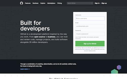 Screenshot for the GitHub website