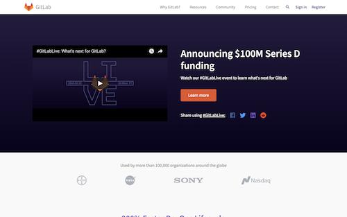 Screenshot for the GitLab website