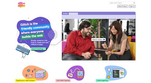 Screenshot for the Glitch website