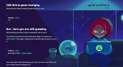 Screenshot for the Grid Critters website