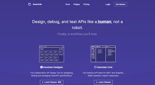 Screenshot for the Insomnia website