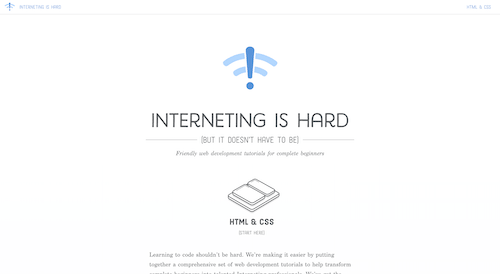 Screenshot for the Interneting is Hard website