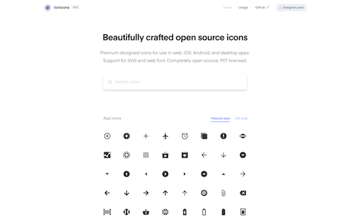 Screenshot for the Ionicons website