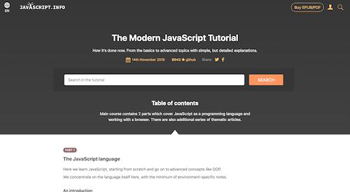 Screenshot for the JavaScript.info website