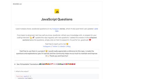 Screenshot for the JavaScript Questions website