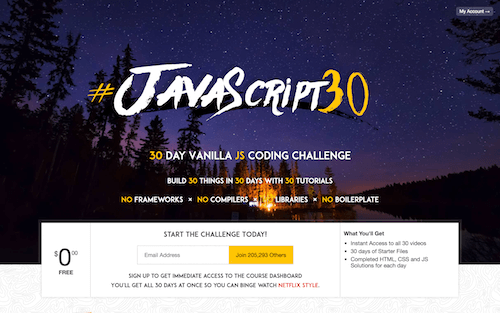 Screenshot for the Wes Bos: JavaScript 30 website