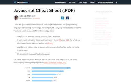 Screenshot for the Website Setup JS Cheat Sheet website