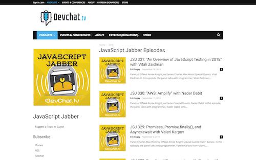 Screenshot for the JavaScript Jabber website