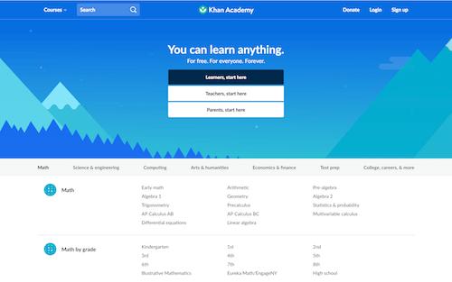 Screenshot for the Khan Academy website