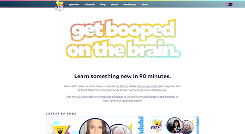 Screenshot for the Learn With Jason website