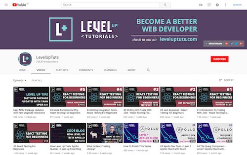 Screenshot for the Level Up Tutorials website