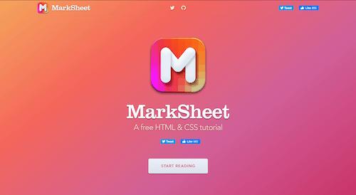 Screenshot for the MarkSheet website