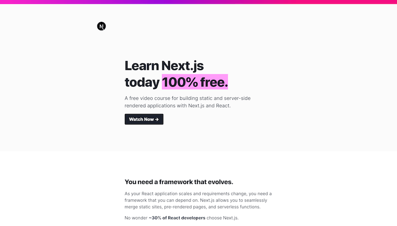 Screenshot for the Mastering Next.js website