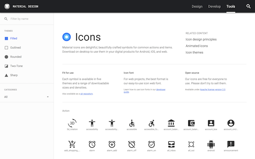Screenshot for the Material Icons website