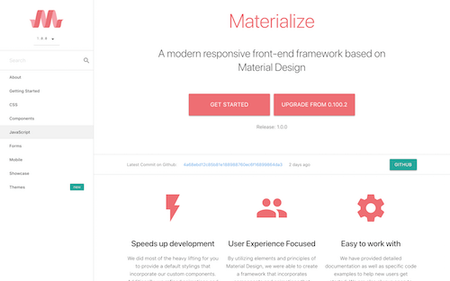 Screenshot for the Materialize website